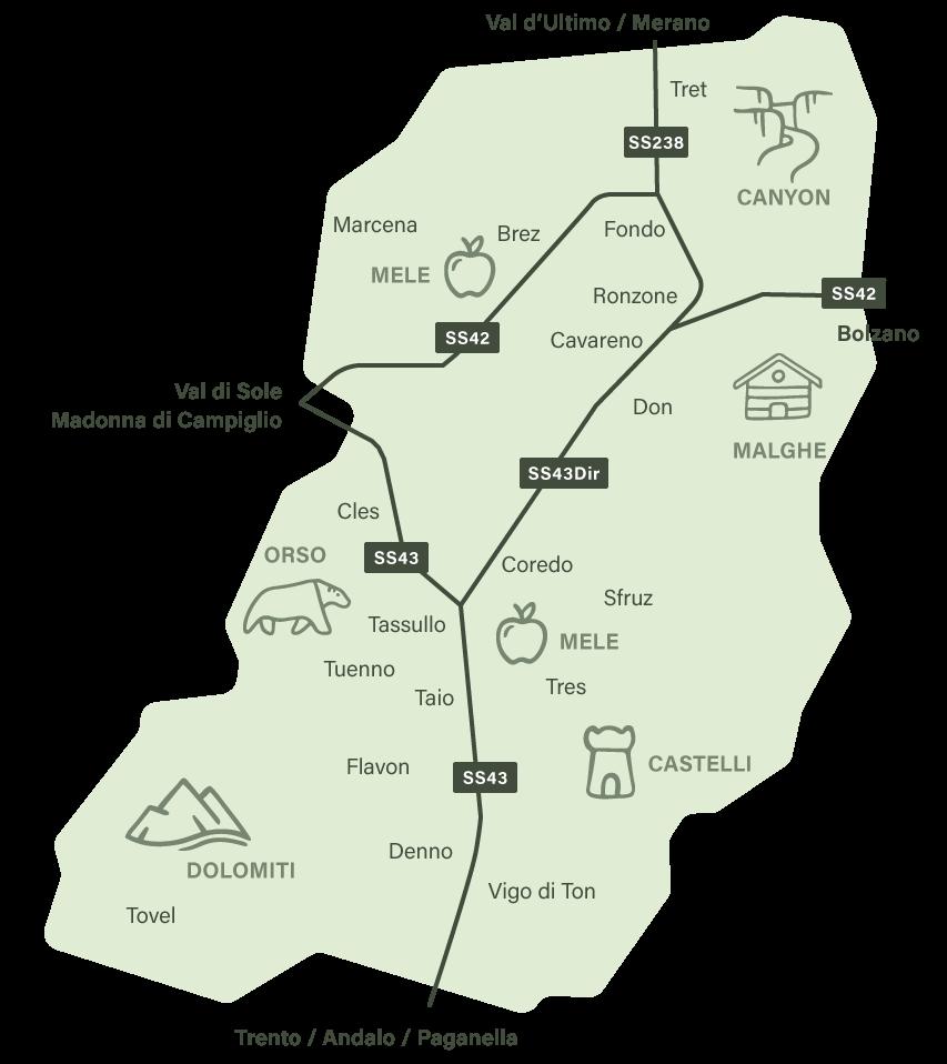 Mappa Val di Non